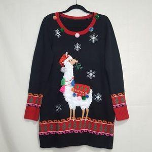 LLAMA Christmas sweater black One Size pom pom